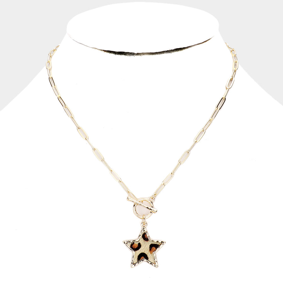 Leopard Star Toggle Necklace