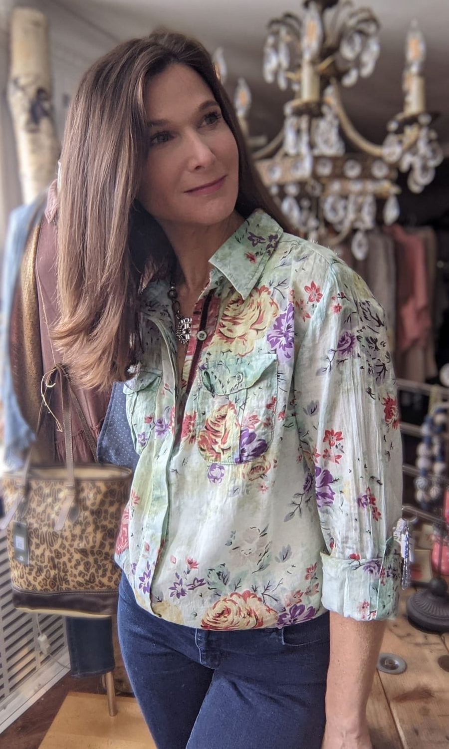 Floral Printed Button-Down Shirt with Vintage Wash