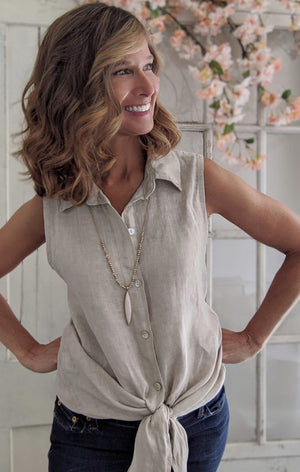 Sleeveless Linen Blouse