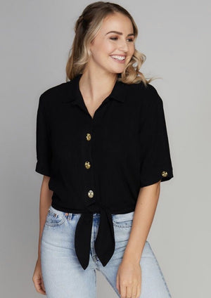 Short Sleeve Tie Front Button Down Blouse