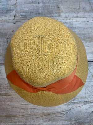 Coral Paper Braid Trim Bucket Hat