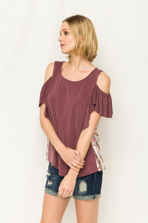 Cold Shoulder Printed Top