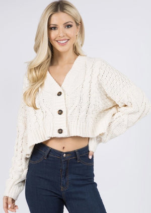 Knit Cropped Button Cardigan