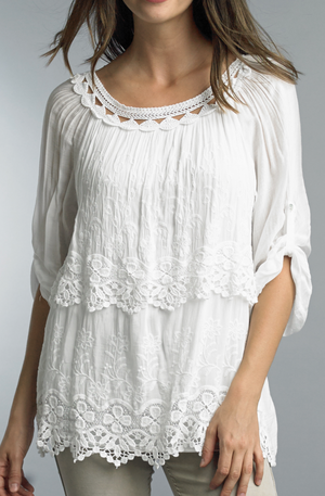 Eyelet Layered Blouse