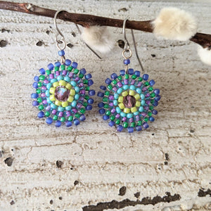 Single Starburst Beaded Wire Dangle Earrings