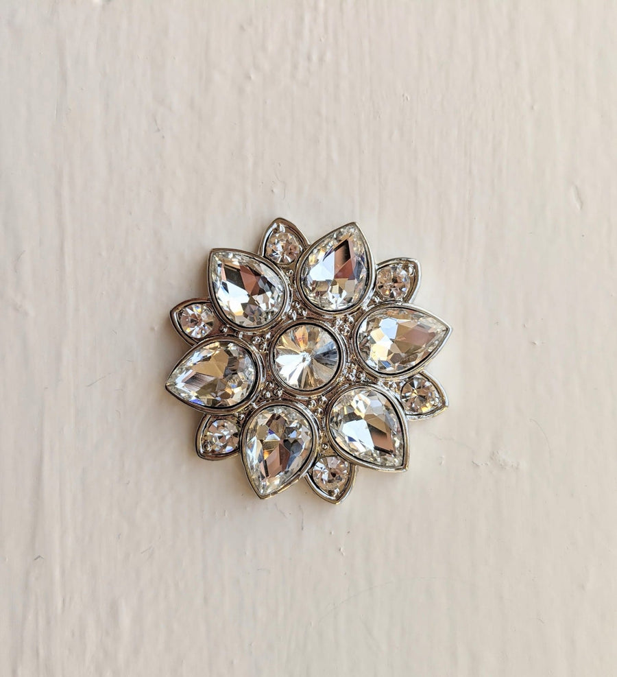 Blooming Flower Crystal Broach
