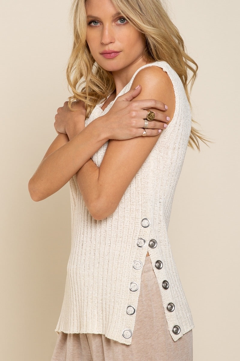 Sleeveless Ribbed Sweater Top
