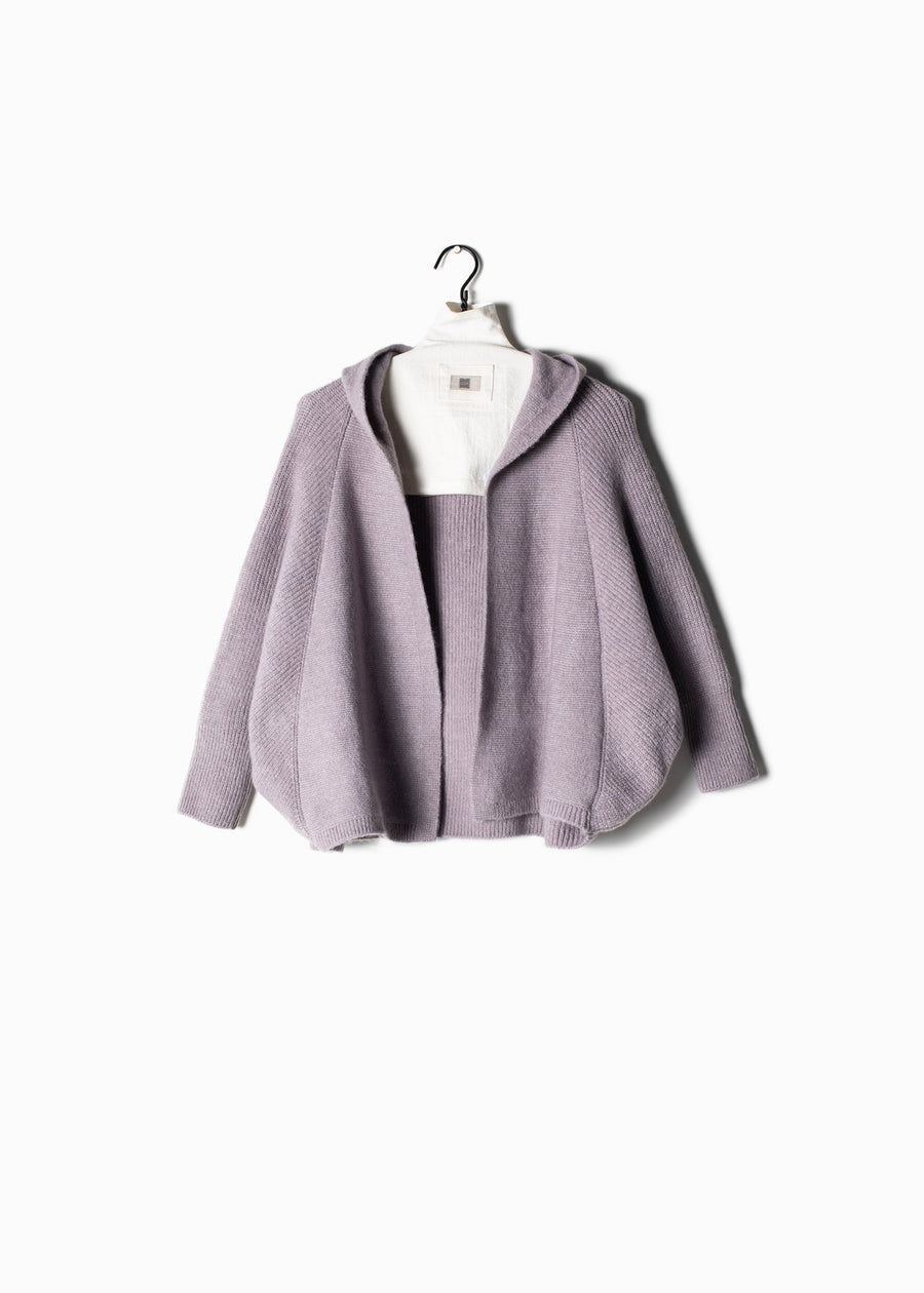 Side Ribbed Hoodie Cape Cardigan