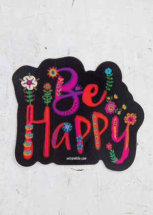 Be Happy Floral Vinyl Sticker