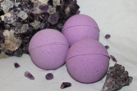 Purple amethyst crystal bath bomb- hidden inside, surprise bath bomb, lush