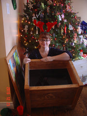 Helen with wooden  planter