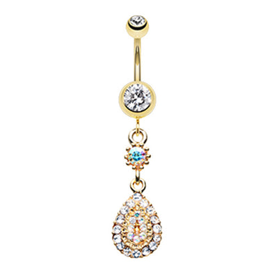 Gold & Rose Gold Elegance Teardrop Sparkle Belly Button Ring-WildKlass Jewelry