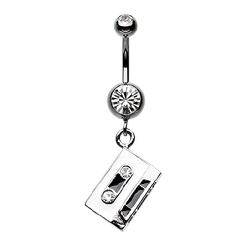 Retro Cassette Tape Sparkle Belly Button Ring-WildKlass Jewelry
