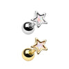 Silver & Gold Opal Star Shape Cartilage Tragus Earring-WildKlass Jewelry