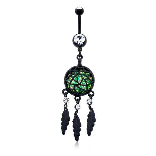 Blackline Opal Dreamcatcher Feather WildKlass Belly Button Ring-WildKlass Jewelry