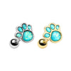 Gold & Silver Animal Lover Opal Paw Print Cartilage Tragus Earring-WildKlass Jewelry