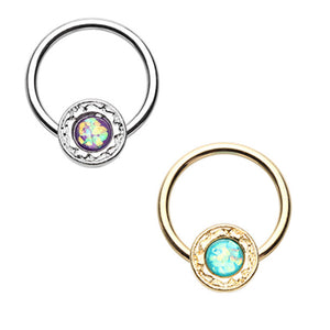 Gold & Silver Ornate Round Opal Steel Captive Bead Ring-WildKlass Jewelry