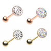 Rose Golden & Golden Multi-Sprinkle Dot Multi Gem Barbell Tongue Ring-WildKlass Jewelry