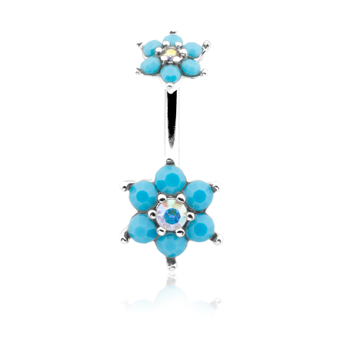 Turquoise Spring Flower Sparkle Prong Set WildKlass Belly Button Ring-WildKlass Jewelry