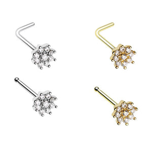 Silver & Gold Gleaming CZ Flower L-Shape & Stud Nose Ring