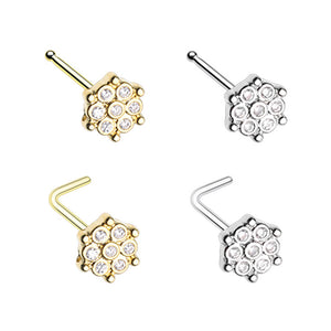 Silver & Gold Extravagant Snowflake CZ L-Shape Nose Ring-WildKlass Jewelry