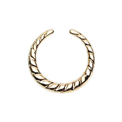 Gold & Silver & Rose Gold Rope Textured Septum Retainer Ring-WildKlass Jewelry
