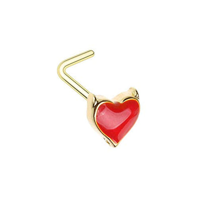 WILDKLASS Golden Devil's Heart L-Shape Nose Ring-WildKlass Jewelry