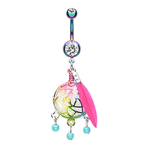 Colorline Opal Sparkle Dreamcatcher WildKlass Belly Button Ring-WildKlass Jewelry