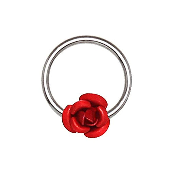 316L Stainless Steel Red Rose Snap-in Captive WildKlass Bead Ring/Septum Ring-WildKlass Jewelry
