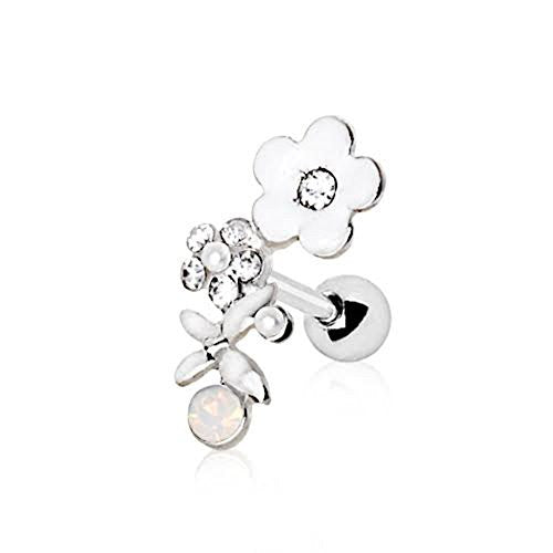 316L Stainless Steel Art of Brilliance Flower Field WildKlass Cartilage Earring-WildKlass Jewelry