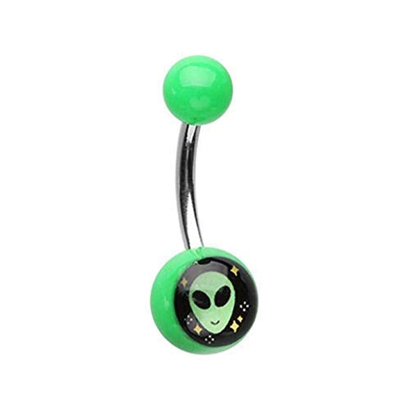 Out of This World Alien Acrylic Logo WildKlass Belly Button Ring-WildKlass Jewelry