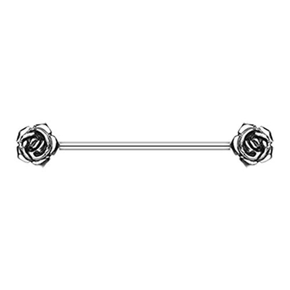 Double Rose Flower WildKlass Industrial Barbell-WildKlass Jewelry