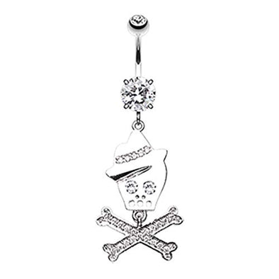 Fedora Skull & Crossbones Sparkle WildKlass Belly Button Ring-WildKlass Jewelry