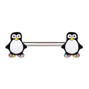WILDKLASS 316L Stainless Steel Adorable Penguin Nipple Bar-WildKlass Jewelry