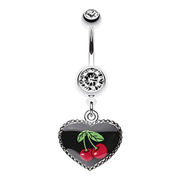 Cherry Heart Dangle WildKlass Belly Button Ring-WildKlass Jewelry