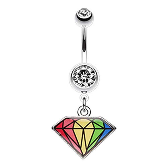 Prism Rainbow Diamond WildKlass Belly Button Ring-WildKlass Jewelry