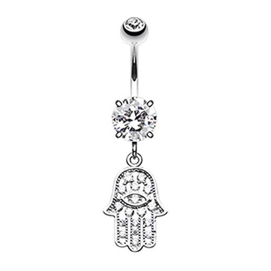 Glistening Dainty Hamsa WildKlass Belly Button Ring-WildKlass Jewelry
