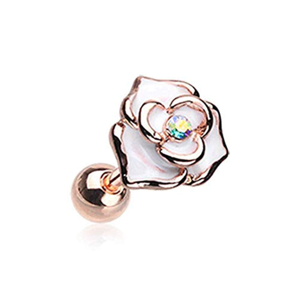 Rose Gold White Rose Sparkle WildKlass Cartilage Tragus Earring-WildKlass Jewelry