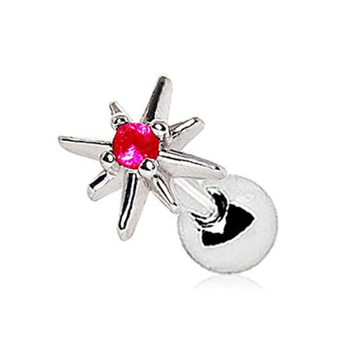 WildKlass 316L Stainless Steel Red Jeweled North Star Cartilage Earring-WildKlass Jewelry