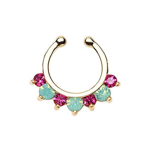 Golden Prong Pacific Opal Gem Precia WildKlass Fake Septum Clip-On Ring-WildKlass Jewelry