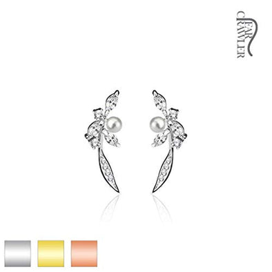 Pair of Paved CZ and Pearl Feather Prepacked WildKlass Ear Crawler/Ear Climber-WildKlass Jewelry