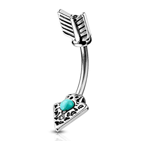 Turquoise Set Tribal Arrow 316L Surgical Steel WildKlass Belly Button Navel Rings-WildKlass Jewelry
