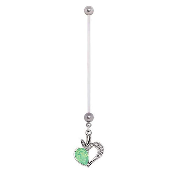 PTFE Jeweled Green Apple Dangle WildKlass Pregnancy Navel Ring-WildKlass Jewelry