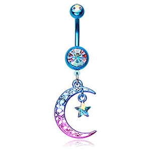 Colorline Filigree Moon Star Sparkle WildKlass Belly Button Ring