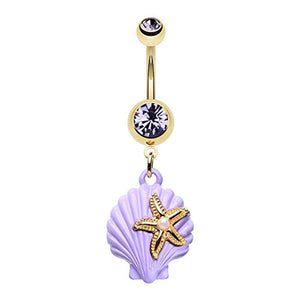 Golden Under The Seashell WildKlass Belly Button Ring-WildKlass Jewelry