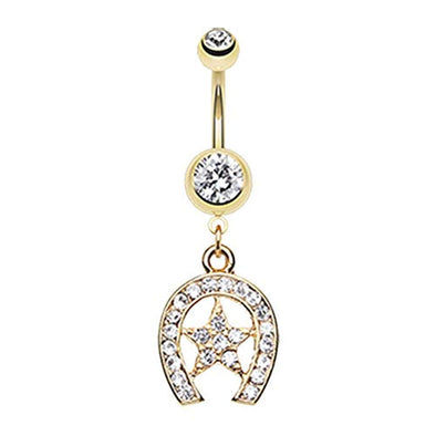 Golden Star Lucky Horseshoe WildKlass Belly Button Ring-WildKlass Jewelry