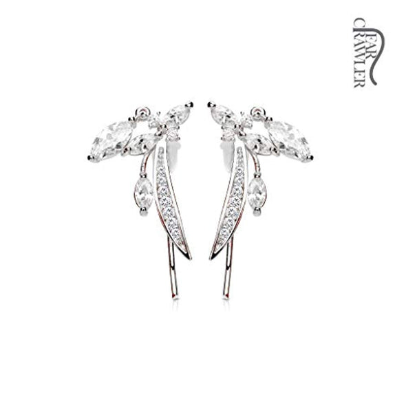 Pair of CZ Paved Feather and Marquise CZ Dangle Prepacked WildKlass Ear Crawler/Ear Climber-WildKlass Jewelry