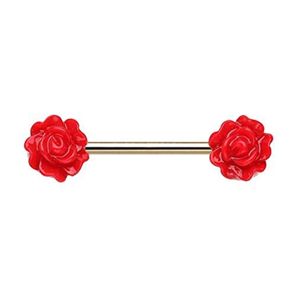 Golden Acrylic Rose WildKlass Nipple Barbell Ring-WildKlass Jewelry