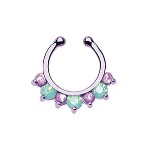 Purple Prong Pacific Opal Gem Precia WildKlass Fake Septum Clip-On Ring-WildKlass Jewelry