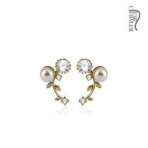 Pair of CZ and Pearl Set Vines Prepacked WildKlass Ear Crawler/Ear Climber-WildKlass Jewelry